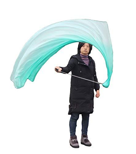 Winged Sirenny Handbemalter fließender Bauchtanz-Schleier aus Seide, 177,8 cm, Poi-Stroamer, buntes Spiel aus Seide, VOI für Anfänger (Pfauengrünes Verblassen)