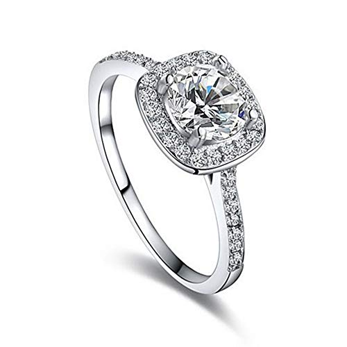 Wedding Ring,18K White Gold Plated CZ Engagement Rings 1.25 Carat Round Cut Halo Wedding Ring for Women (Silver, 7)