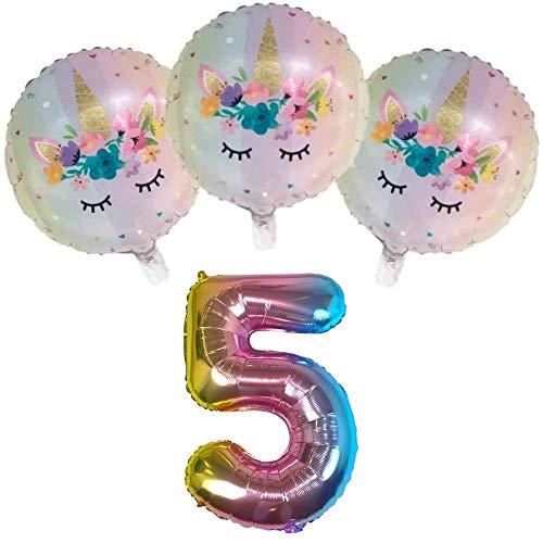 DIWULI, Juego de Globos, número 5, Globos unicornio, globos de número arco-iris, globos de papel de aluminio años inflatable, globos grande para el 5° cumpleaños niña niños, decoración, fiesta