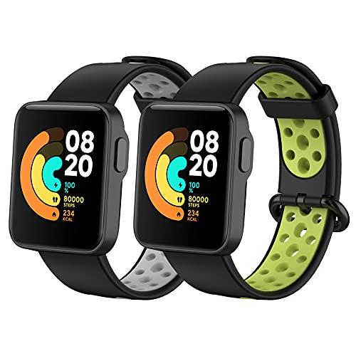 BDIG 2 Pcs Correas Compatible para Xiaomi Mi Watch Lite/Redmi Watch,  Mi Watch Lite Pulsera Colorido Suave Silicona Reloj Recambio Brazalete Impermeable Correa para Redmi Watch / Xiaomi Mi Watch Lite