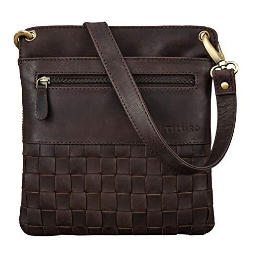 STILORD 'Sophie' Schultertasche Damen klein Leder Handtasche Moderne Umhängetasche geflochten Freizeittasche Vintage Abendtasche Ausgehtasche Echtleder, Farbe:Muskat - braun