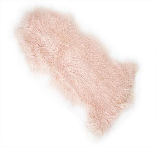 KMH®, echtes Tibeter Schaffell Lammfell Bettvorleger ca. 90 x 60 cm rosa 100% ökologisch gegerbt (Ökotex-Zertifiziert) (#600020)