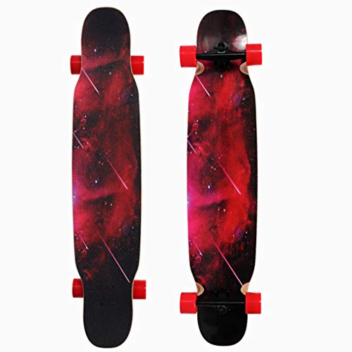 Longboard Skateboard / 46-Zoll-Tropfen-Through Deck komplett Maple Freestyle Cruiser Camber Concave Downhill Tanzen Brush Street langes Brett Longboard für Anfänger, Mädchen, Jungen