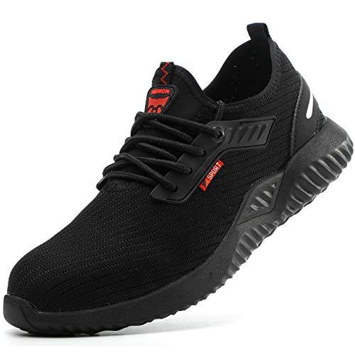 Firtsagy - Zapatos de seguridad para hombre y mujer, con tapas de acero, S3, transpirables, deportivos, unisex, color Negro, talla 39 EU