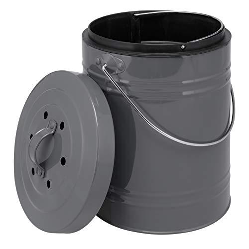 bremermann Poubelle à compost avec seau intérieur de 5 litres - Filtre à charbon actif - Poubelle bio (gris)