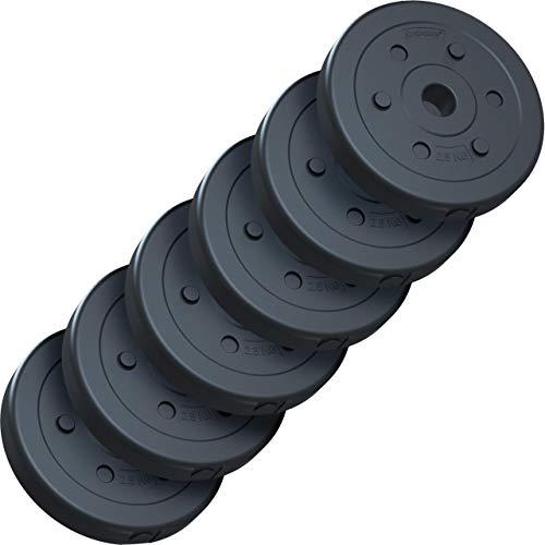 ScSPORTS® 15 kg Hantelscheiben-Set, Kunststoff, 6 x 2,5 kg Gewichte, 30/31 mm Bohrung, durch Intertek geprüft + bestanden (1)