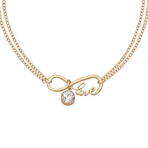 Caramel Jewellery London Collana The Love of Sparkle Infinity Friendship in Oro 18ct Placcato. Cristallo Effetto Chiaro Gemstone Lettering, Collana a Doppia Catena dell'infinito per Le Donne 38cm