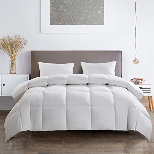 Serta 233 Thread Count White Feather Goose Down Fiber Light Warmth Comforter, King
