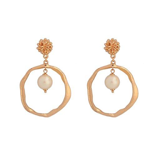 Kercisbeauty Ohrringe für Damen, Süßwasserperle, Tropfenform, goldfarben