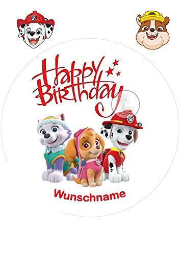 Für den Geburtstag ein Tortenbild + Wunschname Zuckerbild mit dem Motiv: Paw Patrol, Essbares Foto für Torten, Tortenbild, Tortenaufleger Ø 20cm - Super Qualität, 3819a