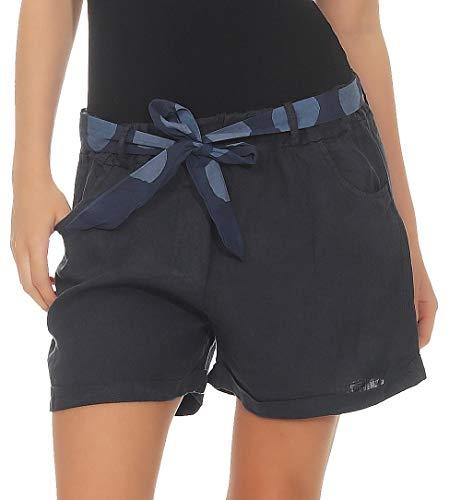 malito dames bermuda uit linnen | nonchalante korte broek | Bermuda voor aan het strand | Pants - Hotpants 6058