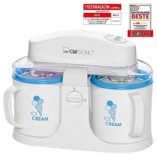 Clatronic ICM 3650 Eiscreme-Maker , geeignet zur Zubereitung von Sorbet, Eis und Frozen Joghurt, für bis zu 2x 500 ml Eiscremé, Deckel mit Nachfüllöffnung, weiß/blau