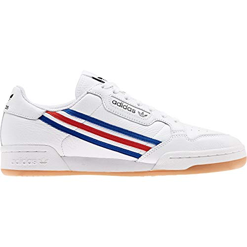 adidas Herren Continental 80 Gymnastikschuh, FTWR White Team Royal Blue Vivid Red, 44 2/3 EU