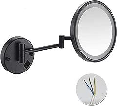 HJJ Makeup Mirror Make-up Mirror Single-Sided LED Vanity Mirror 3X / 5X Zoom Folding Rotating Telescopic Wall Mirror for Hotel bathrooms, 4,3X