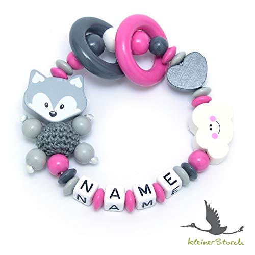 Baby Greifling Beißring geschlossen mit Namen - individuelles Holz Lernspielzeug als Geschenk zur Geburt Taufe - Mädchen Fuchs und Wolke in rosa