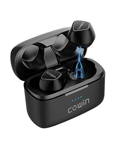 Cowin KY02 Auriculares Deportivos inalámbricos Auriculares Bluetooth 5.0 Micrófonos incorporados Llamadas Estéreo Control de Toque Extra bajo 35H Tiempo de Juego para Hacer Ejercicio y Correr - Negro