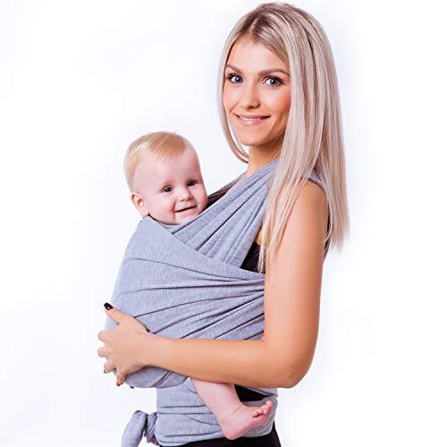 JVS family Babytragetuch aus 100{a7161d497e8b8eda45f2045884ab41cc1392dfe0c686360b892493dd8ec3584e} sanfter Bio Baumwolle - Baby Tragetuch für Neugeborene - Hochwertige Babytragetasche für unterwegs - Ideales Erstausstattungs-Geschenk