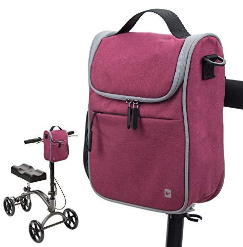 PACMAXI Knee Walker Handlebar Bag Multiple Uses Handlebar Bag for Knee Walker, Bike, Scooter, Wheelchair, Knee Scooter Accessories Bag with Shoulder Strap for Men, Women, Senior (Red)