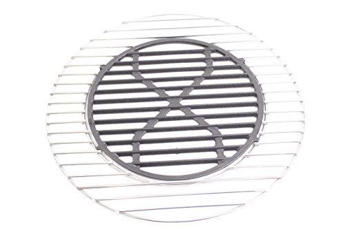 Hero Grille de cuisson en acier inoxydable 44,5 cm tout en 5 mm avec insert en fonte d'env. 30 cm
