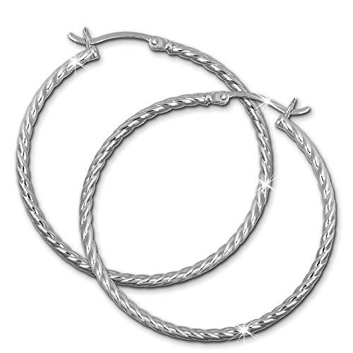 SilberDream Ohrringe 40mm Damen-Schmuck 925er Silber Creolen gedreht SDO0064J