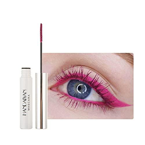 GL-Turelifes Máscara de 12 colores Máscara de fibra colorida Máscara encantadora de larga duración, pestañas gruesas y largas Maquillaje de ojos a prueba de agua y manchas (# 12 rosa)