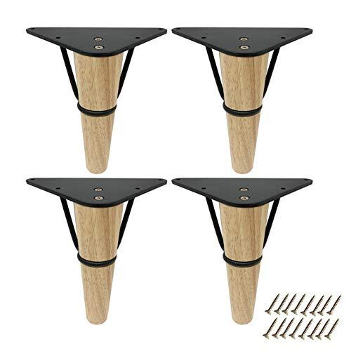 YFYF 4 Piezas Patas para Muebles De Madera Maciza, Pie De Repuesto para Muebles Fuerte Capacidad De Carga Utilizado para Mueble De TV, Mesa De Café, Sofá (Color : A, Size : 18cm)