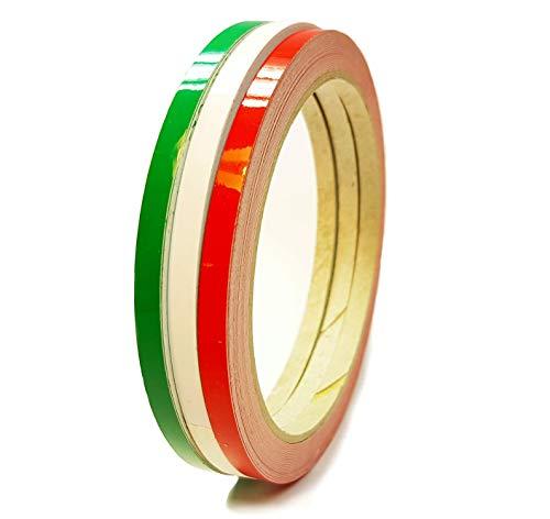 Siviwonder Zierstreifen Italien grün weiß rot Glanz in je 5 mm Breite und 10 m Länge Folie Aufkleber für Auto Boot Jetski Modellbau Klebeband Dekorstreifen Fahne