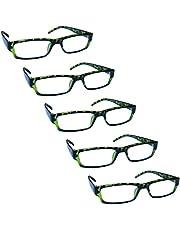 The Reading Glasses Company Groene schildpad waarde 5 Pack lichtgewicht Mens Womens RRRRR32-6 +2.50