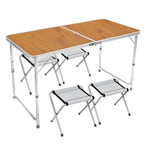 LICHUAN Mesa plegable al aire libre, mesa plegable de metal, para fiestas, camping, para interiores, estudio de ocio, más cuatro sillas de tela, mesa de picnic plegable (color de madera)