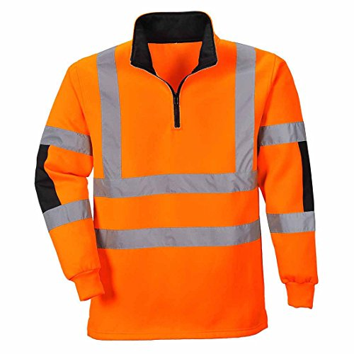 Portwest B308ORRXS Xenon Rugby Sweatshirt, XS, Orange