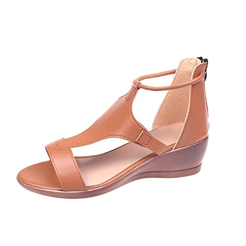 XOXSION Sandalias de verano para mujer, de un solo color, con cremallera, con plataforma abierta, para el tiempo libre, cómodas, de piel sintética, color Marrón, talla 39 EU