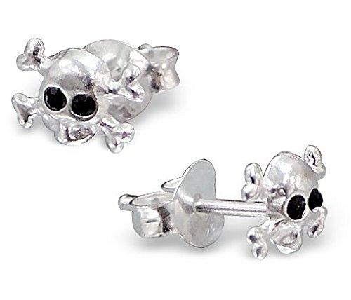 Orecchini a lobo extra small discreti a forma di teschio e tibie incrociate in argento sterling, con occhi a forma di gemme di cristallo nere (0,7 cm x 0,5 cm) - Confezione regalo inclusa