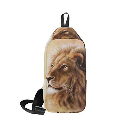 DragonSwordlinsu Coosun, borsa a tracolla con testa di leone, zaino da spalla, petto e corpo incrociato, leggero, casual, per uomo e donna