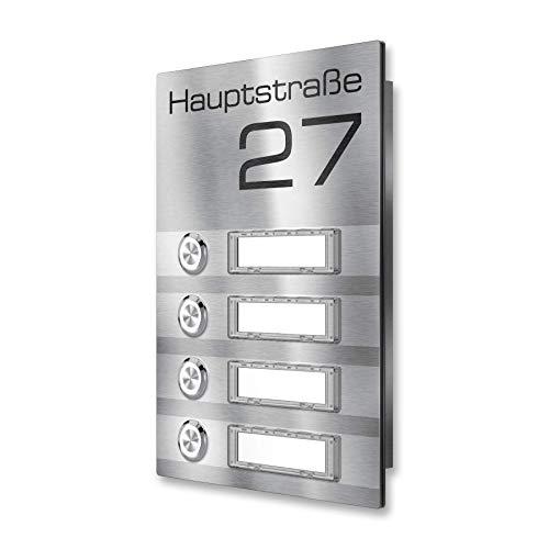 Kabellose Edelstahl Aufputz Funk-Klingel für Mehrfamilien Häuser mit austauschbarem Namenschild - Farbe wählbar - (4 Taster, Edelstahl)