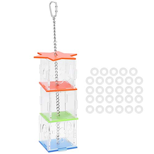 DOACT Mehrfachverwendung Mehrschichtiger Vogel Parrote Futterkasten Hanging Treat Futtersuche Spielzeug Transparenter Acryl-Lebensmittelhalter