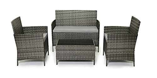 EVRE Rattan Garden Furniture Set Patio Conservatory Indoor Outdoor 4 piece set table chair sofa...