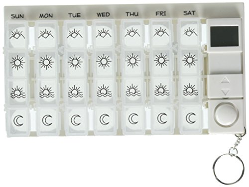 PuTwo 7 Day Digital Pill Box with 28 Compartments 4 Timer Alarm...