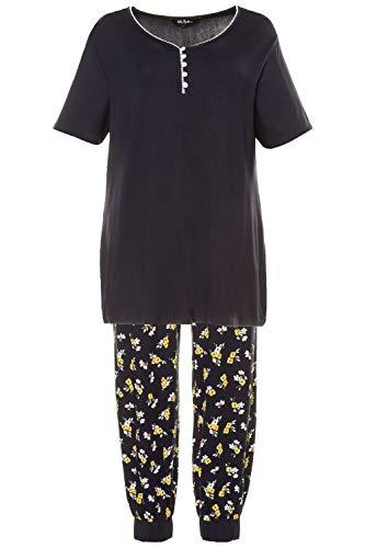 Ulla Popken Damen Pyjama, Blumen Pyjamaset, Multicolor, 58+