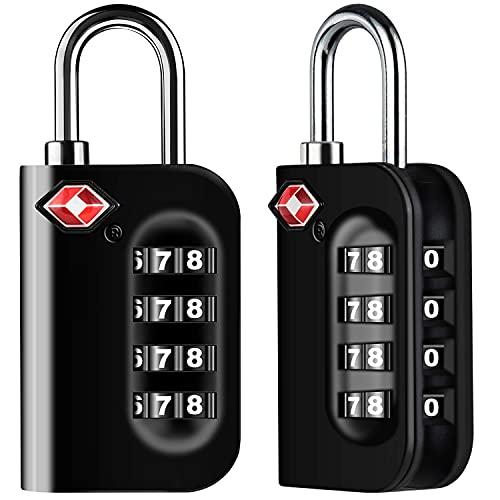 TSA, lucchetto di sicurezza a 4 cifre, lucchetto a combinazione, codice di blocco per valigie da viaggio, valigie ecc. nero BJY969 (colore nero