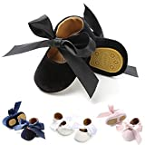 KIDSUN Baby Girl Shoes Mary Jane Ballerina Shoes Bow Princess Dress Wedding Shoes Newborn Blush Shoes