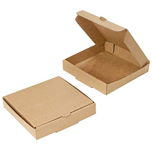 5' Kraft Mini Pizza Boxes (8 Pack) - Chica and Jo Brand - Square Flat Cardboard Boxes 5 Inch (8)