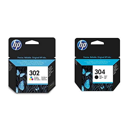 HP 302 - Cartucho de Tinta Original 302 Tricolor para DeskJet 2130, 3630 OfficeJet 3830, 4650 Envy 4520 + N9K06AE 304 Cartucho de Tinta Original, 1 Unidad, Negro