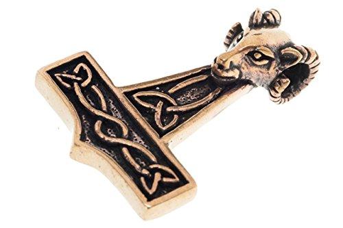 Erlebnis Mittelalter Kettenanhänger Thors Hammer Wikinger Germanen Bronze Thorshammer - Anhänger Finnvid mit Widderkopf