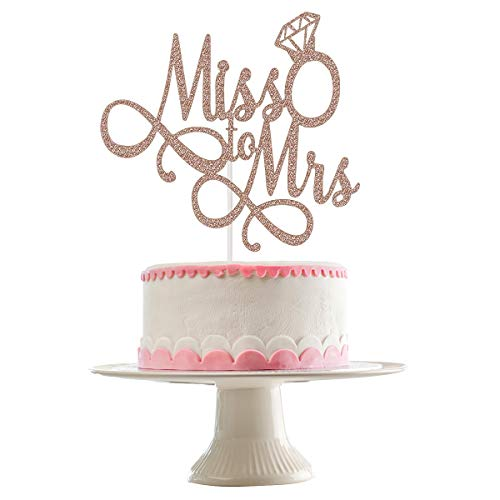 Miss to Mrs Cake Topper- Rose Gold Glitter, Bridal Shower Cake Topper, Wedding Cake Toppers, Wedding Toppers, Cake Topper Miss to Mrs, Cake Toppers for Engagement(Double-sided Glitter)