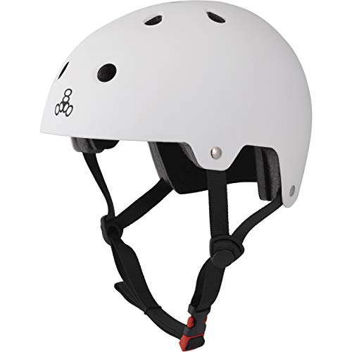 Triple 8 Kopfschutz Brainsaver Double Certification - Casco de Skateboarding, Color Blanco, Talla L/XL