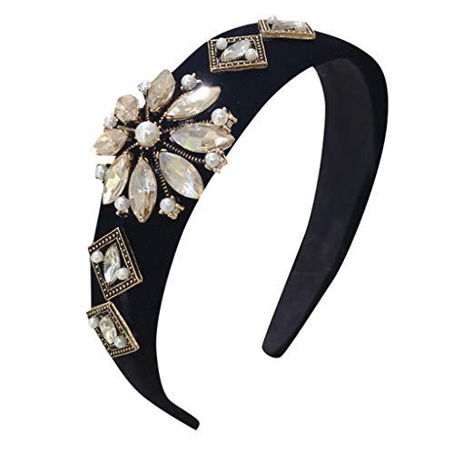 Aiserkly Damen Kristall Stirnband Laufband Breiter Stoff Haarband Kopfwickel Haarband Zubehör Gr. Einheitsgröße, Schwarz A