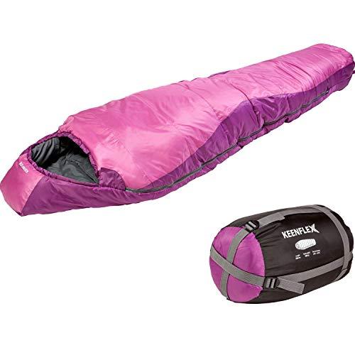 Saco de dormir KeenFlex tipo momia para 3-4 estaciones extra cálido y ligero, compacto, resistente al agua y con control de calor avanzado – ideal para festivales o hacer camping (Rosado)