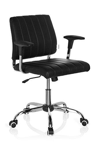 hjh OFFICE 719040 Home-Office Bürostuhl FERNANDO Kunstleder Schwarz Drehstuhl mit niedriger Rückenlehne, Armlehnen gepolstert