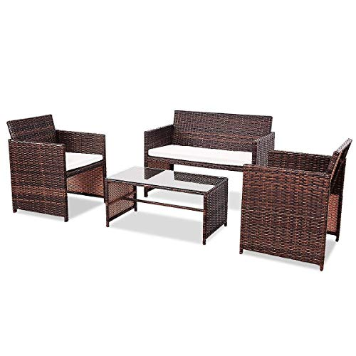 USA_Best_Seller 4 pcs Brown Sturdy Sofa Cushioned Seat Furniture Set Outdoor Garden Patio Backyard Modern Coffee Dining Conversation Set Table Chair Sectional Bistro Rattan Modern