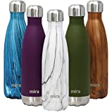 MIRA 17 Oz Stainless Steel Vacuum Insulated Water Bottle - Double Walled Cola Shape Thermos - 24 Hours Cold, 12 Hours Hot - Reusable Metal Water Bottle - Leak-Proof Sports Flask - French Granite